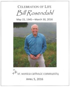 Program cover of Celebration of Life for Bill Rosendahl at Santa Monica Catholic Community Church
